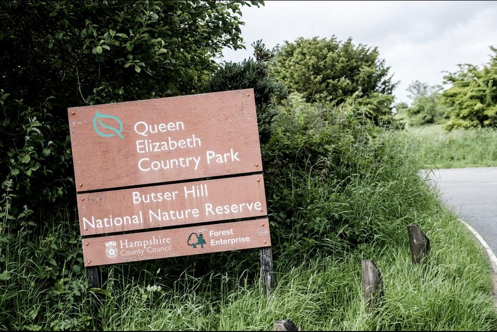 Queen Elizabeth Country Park Sign